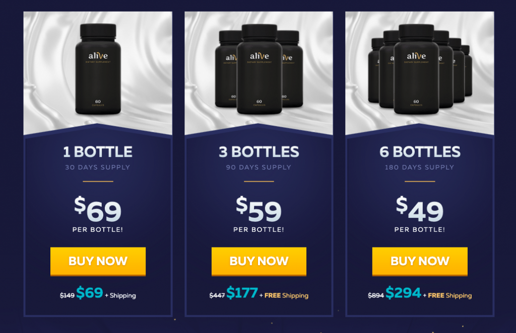 alive supplement pricing