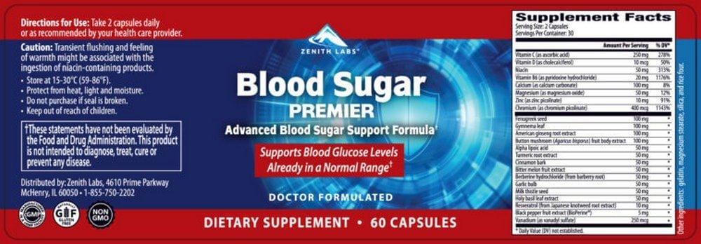 Blood Sugar Premier ingredients label