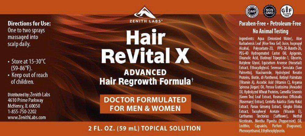 hair revital x ingredients label